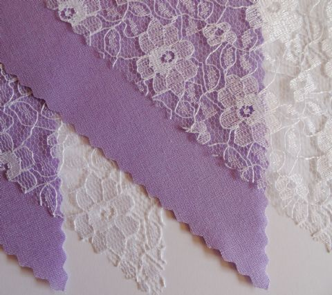 BUNTING - Plain Lilac & White Floral Lace - 3m/10ft or 5m/16ft
